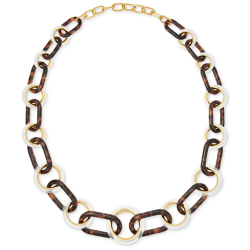 Michael Kors Gold-Tone Tortoise-Look and Clear Acetate Statement Necklace