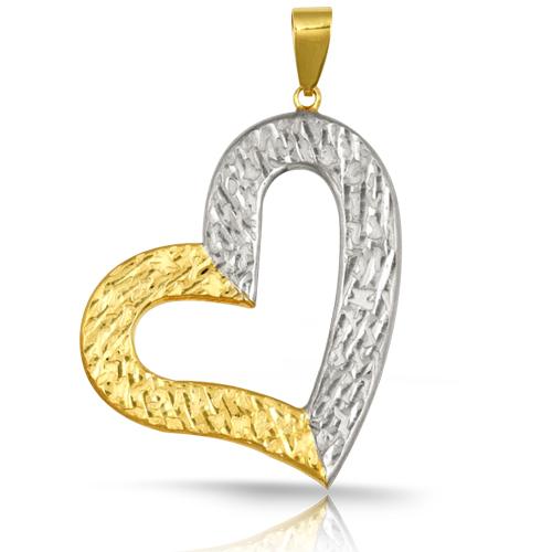 14K Two Tone  Diamond Cut Heart Pendant
