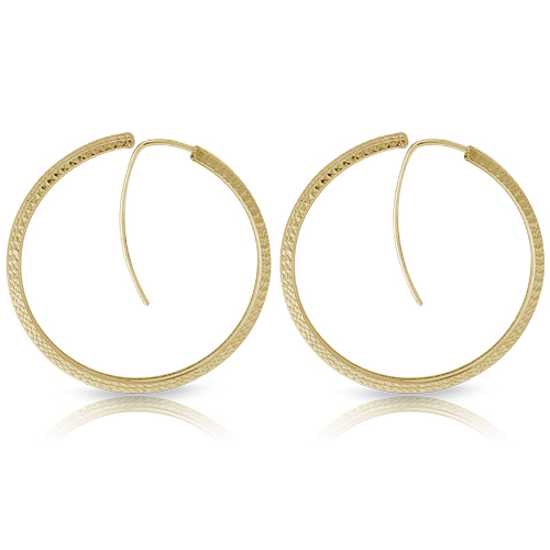 Textured Gold Tone Fashion Hoop Earrings