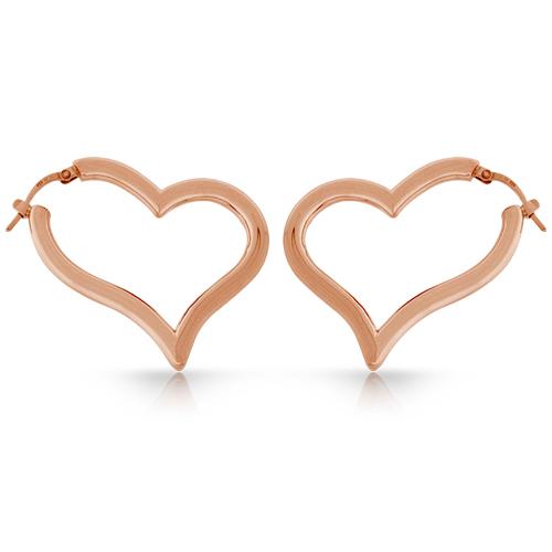 Sterling Silver Rose Heart Earrings