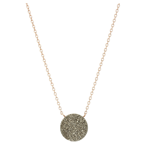 Fossil Shimmer Stone Pendant Necklace - Rose Gold/Silver