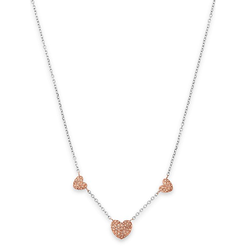 Michael Kors Pavé Hearts Rose Gold-Tone and Peach Crystal Station Pendant Necklace