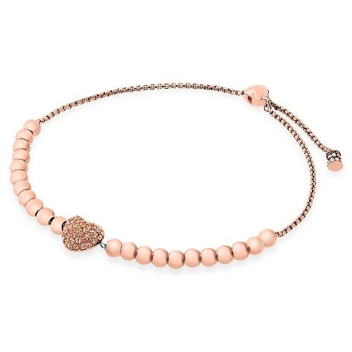 Michael Kors Pavé Hearts Rose Gold-Tone and Peach Crystal Bead Slider Bracelet