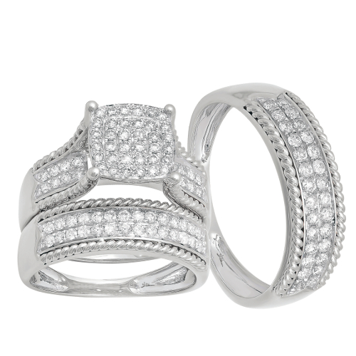 14k White Gold 1.06ct Diamond Trio Set