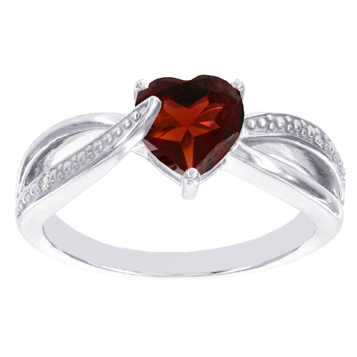 January Garnet Birthstone Silver Ring