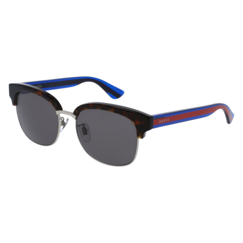 Gucci GG0056S Suare Acetate Sunglasses - Dark Havana/ Red/Blue / Grey 67M-L34-GG0056S00454