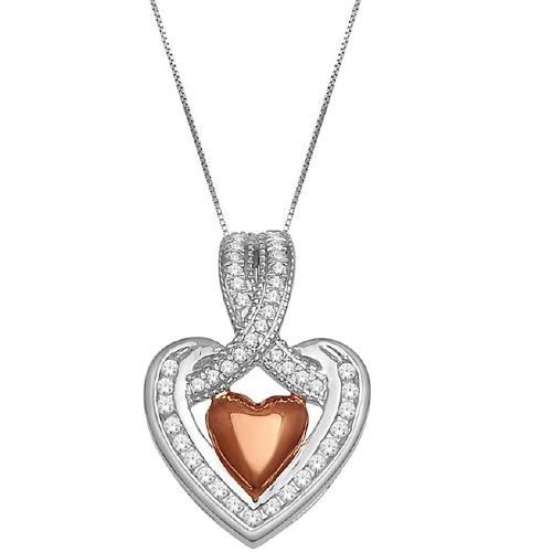 14k White Gold 0.15ct Diamond Heart Pendant