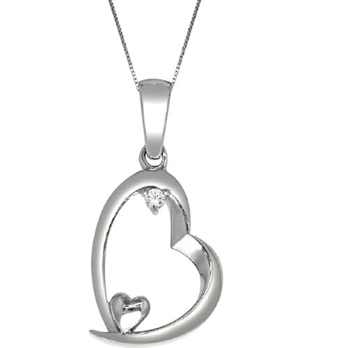 14k White Gold 0.02ct Diamond Heart Pendant
