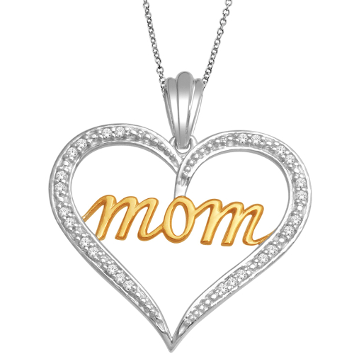 14K 0.07Ct Diamond Mom Pendant
