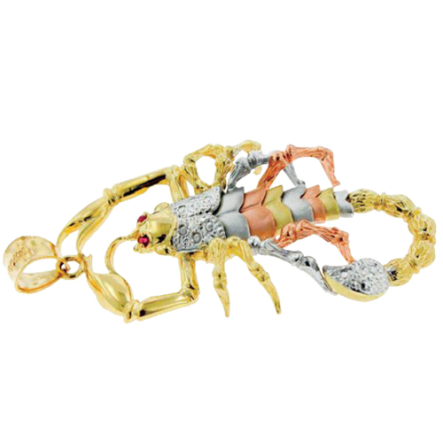 14k Tri-Color Gold Scorpion Pendant Charm