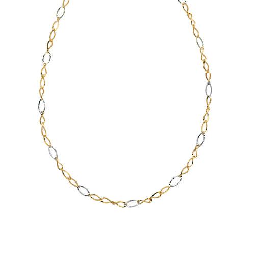 14K 2T 17' Tt Wavy Oval Loop Necklace