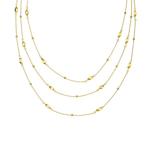 14K 3 Layer Twst Chain Necklace