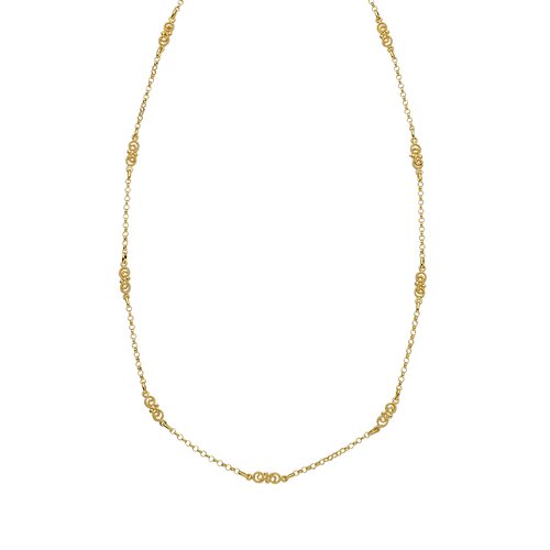 """14K Yg 17"""" Rolo With Textured Chain"""