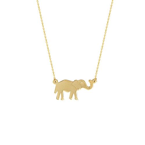 14K E2W Adj Elephant Necklace
