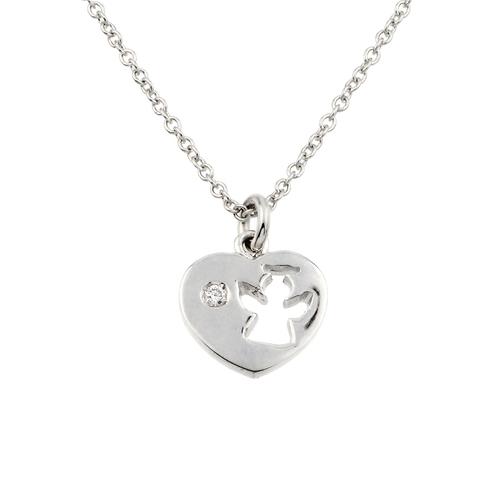 18K Wg DMND Angel Heart Necklace 72E-K85-IMD43610WG