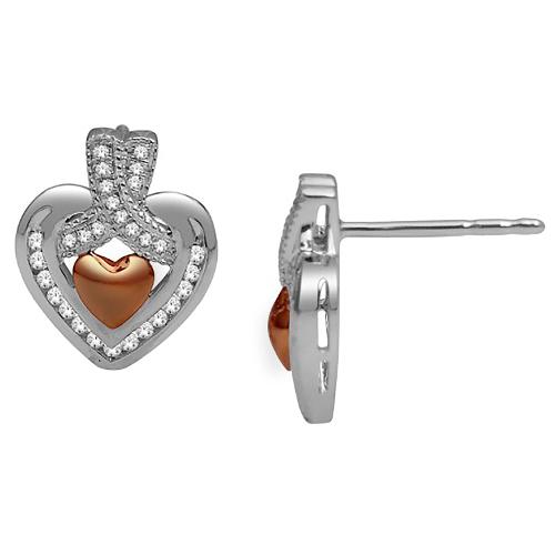 14k White Gold 0.22ct Diamond Heart Stud Earrings