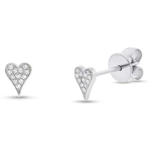 005ct 14k White Gold Diamond Pave Heart Earrings