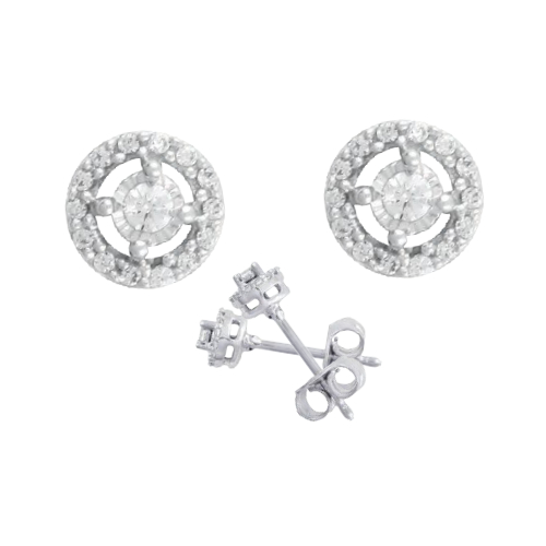 14k White Gold .10ct TW Diamond Earrings