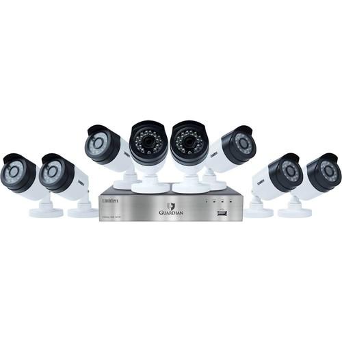 Uniden G6880D2 Guardian 8-Channel 8-Camera Wired DVR Surveillance System - Black/Silver/White