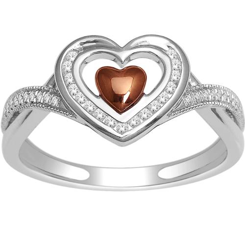 14k White Gold 0.15ct Diamond Heart Ring