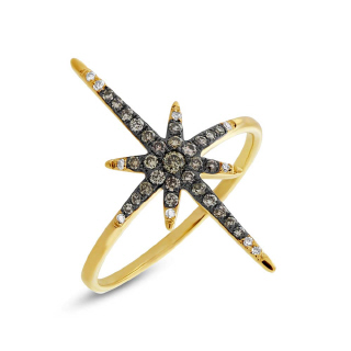 14K Y/G 0.24CT WHT STAR RING - Size 7 75B-M08-SC36213200