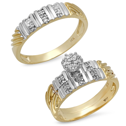 14K Yellow Gold Two-Tone Wedding Trio Set