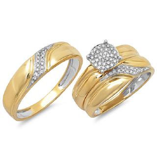 14K YG 0.24 DMND WEDDING TRIO RING