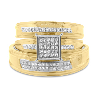 14K YG 0.19 DMND WEDDING TRIO RING