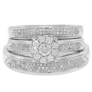 0.59ct 14k White Gold Diamond Trio Set