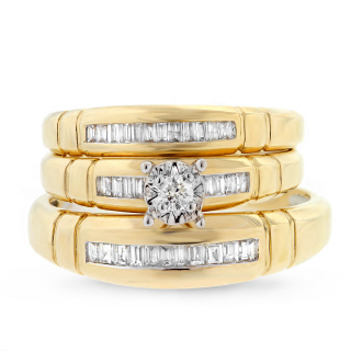 0.42ct 14k Two-tone Gold Diamond Trio Set
