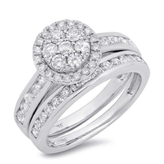 14K 1.26CT W/G DMND WEDDNG SET -
