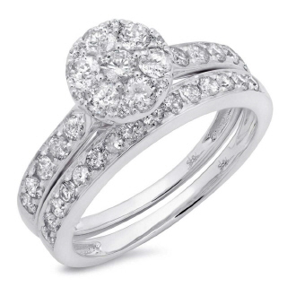 14K 1.25CT W/G DMND WEDDNG SET -