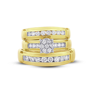 14K Y/G 0.96CT DMND TRIO SET