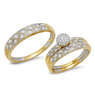 14K Y/G 0.41CT DMND TRIO SET E
