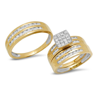 14K Y/G 1.14CT DMND TRIO SET E
