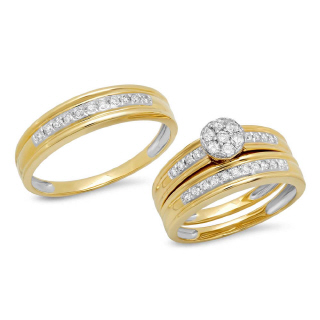 14K Y/G 0.48CT DMND TRIO SET R