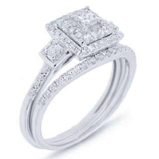 0.73CT 14K W/G DMN WEDDING SET -
