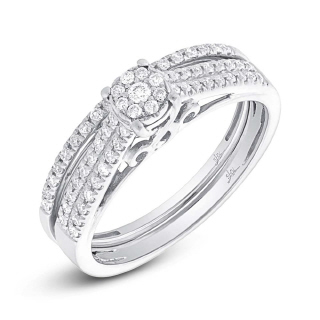 14K W/G 0.30CT DMND WEDDING SET -