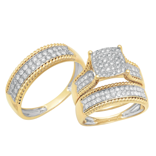 14k Yellow Gold 1.06ct Diamond Trio Set