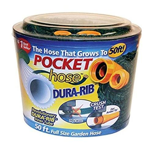 As Seen On TV 50 Feet Dura Rib Garden Pocket Hose - Green 77V-N67-994612