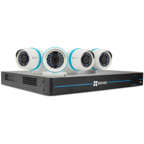 Ezviz BN1824A2 8-Channel 1080p NVR with 2TB HDD and 4 1080p Outdoor Network Bullet Cameras - White