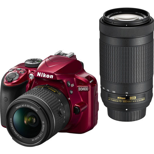 Nikon D3400RDU1574 DSLR Camera with 18-55mm and 70-300mm Lenses - Red
