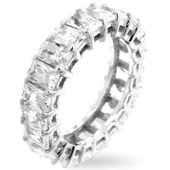 Emerald Cut Eternity Band Size 7