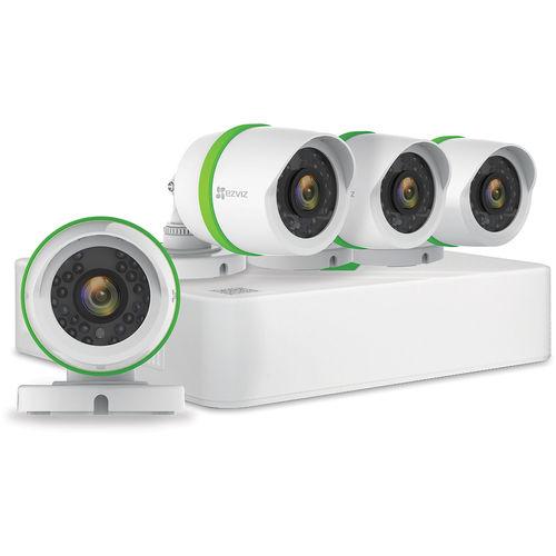 Ezviz BD1424B1 4-Channel, 4-Camera Indoor/Outdoor Wired 1080p 1TB DVR Surveillance System - Gray/White