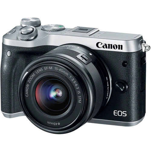 Canon EOSM6/SILVER Mirrorless Digital Camera with 15-45mm Lens / 24.2 Megapixel / 3x Optical Zoom - Silver