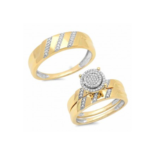 14K Yellow Gold 0.25 ct Diamond Trio